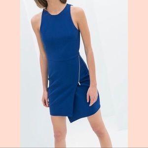 Zara Sheath Dress w/Asymmetrical hem & zipper dtl